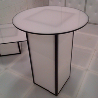 NYC Rental of White Acrylic Cocktail Table