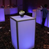 Matching LED Lit Tables Rental NYC